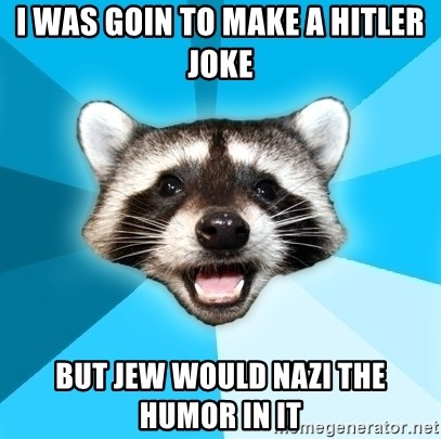 Lame Pun Coon - i was goin to make a hitler joke but jew would nazi the humor in it