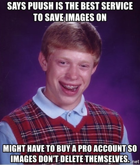 Bad Luck Brian - Says puush is the best service to save images on Might have to buy a pro account so images don't delete themselves.