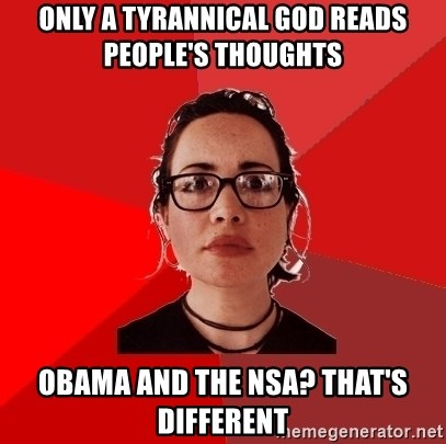 Liberal Douche Garofalo - only a tyrannical god reads people's thoughts obama and the nsa? that's different