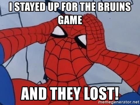 Hungover Spiderman - I STAYED UP FOR THE BRUINS GAME AND THEY LOST!