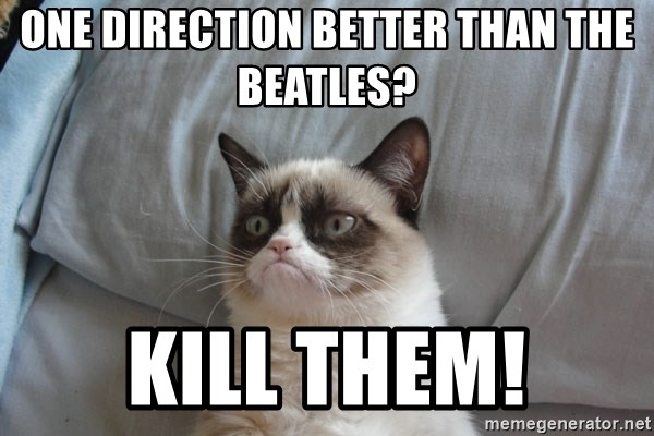 Grumpy cat good - One Direction better than The Beatles? Kill Them!