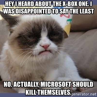 Birthday Grumpy Cat - Hey I heard about the X-Box one. i was disappointed to say the least No. Actually, microsoft should kill themselves.