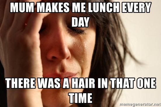 First World Problems - Mum makes me lunch every day There was a hair in that one time