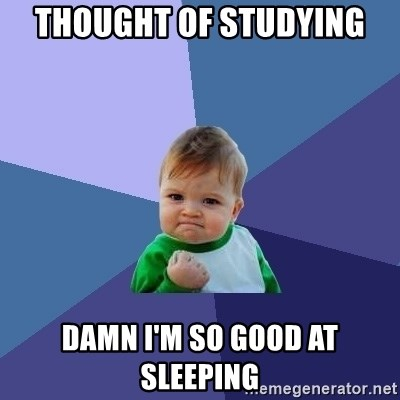 Success Kid - thought of studying damn i'm so good at sleeping