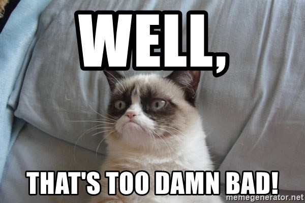 Grumpy cat 5 - WELL, THAT'S TOO DAMN BAD!