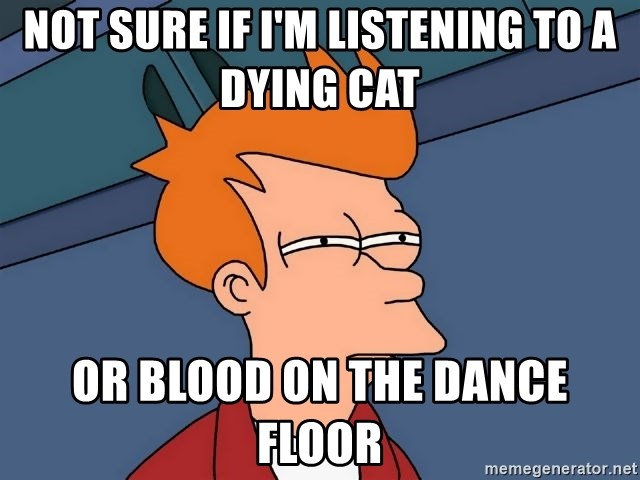 Futurama Fry - NOT SURE IF I'M LISTENING TO A DYING CAT OR BLOOD ON THE DANCE FLOOR