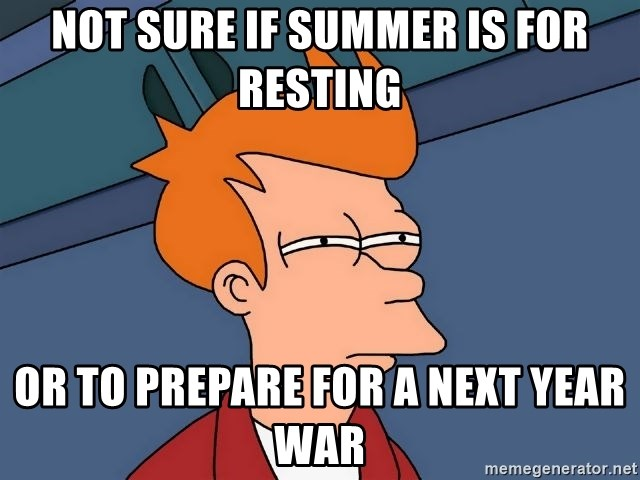 Futurama Fry - Not sure if summer is for resting Or to prepare for a next year war