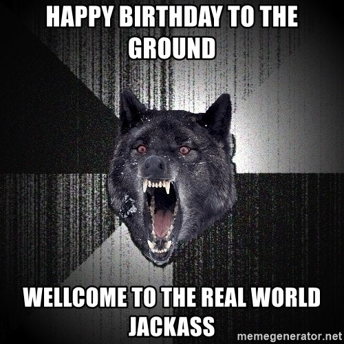 Insanity Wolf - HAPPY Birthday to the ground wellcome to the real world jackass