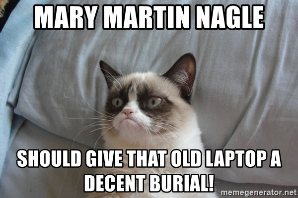 Grumpy cat 5 - Mary Martin Nagle Should give that old Laptop a decent burial!