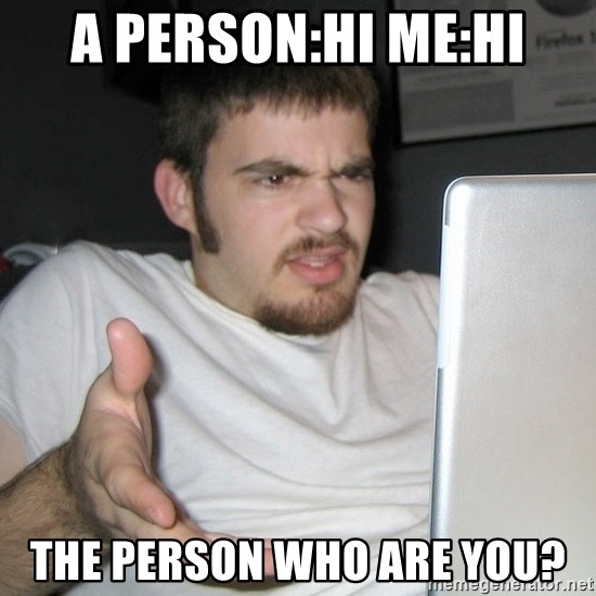 Wtf Shz - A PERSON:HI ME:HI THE PERSON WHO ARE YOU?