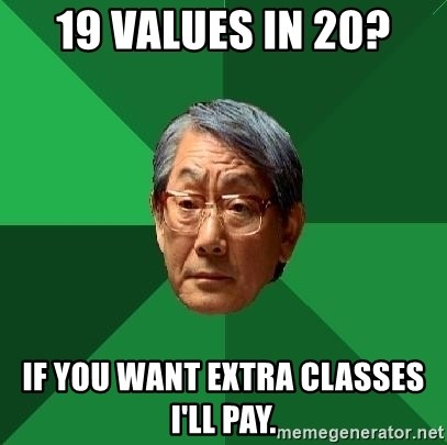 High Expectations Asian Father - 19 values in 20? If you want extra classes I'll pay.