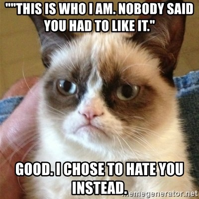 """Grumpy Cat  - """"""""This is who I am. Nobody said you had to like it."""" Good. I chose to hate you instead."""
