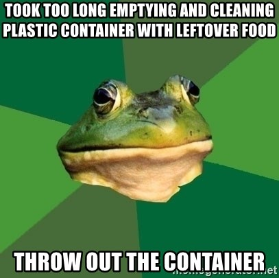Foul Bachelor Frog - Took too long emptying and cleaning plastic container with leftover food Throw out the container