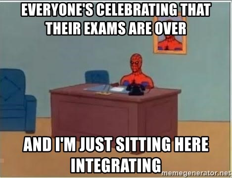 Spiderman Desk - everyone's celebrating that their exams are over and i'm just sitting here integrating