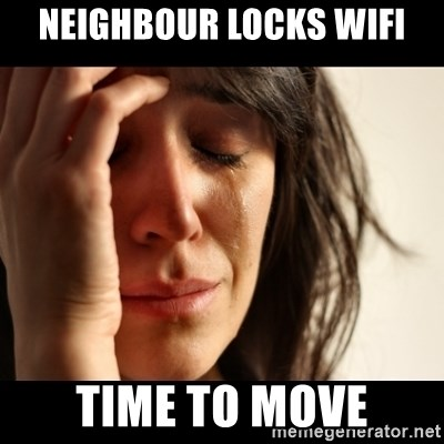 crying girl sad - neighbour locks wifi time to move