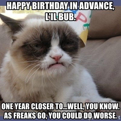 Birthday Grumpy Cat - Happy Birthday in Advance, L'il Bub. One year closer to...well, you know.  As freaks go, you could do worse.