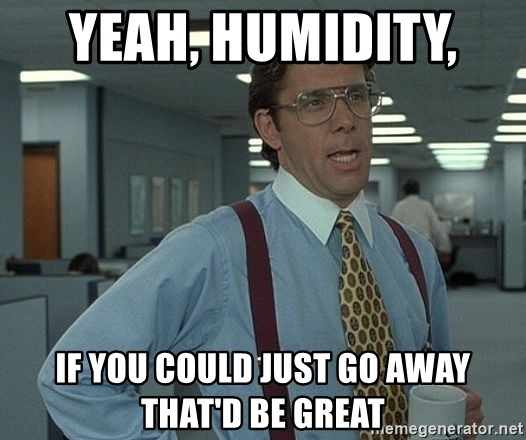 That'd be great guy - Yeah, humidity,  if you could just go away that'd be great