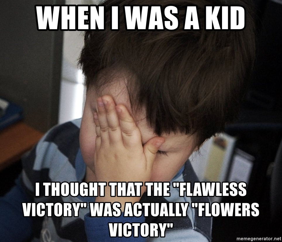 """Confession Kid - When I was a kid I thought that the """"Flawless Victory"""" was actually """"Flowers Victory"""""""