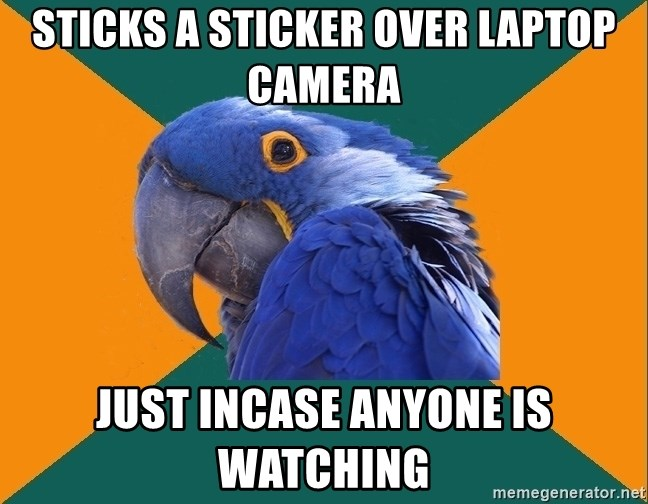 Paranoid Parrot - Sticks a sticker over laptop camera Just incase anyone is watching