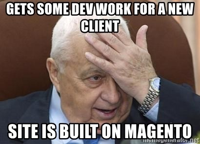 Forgetful Prime Minister - gets some dev work for a new client site is built on Magento