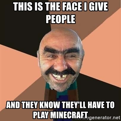 minecraft_dyshanbe - This is the face i give people And they know they'll have to play minecraft