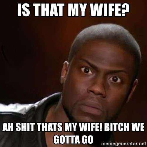 kevin hart nigga - IS THAT MY WIFE?  AH SHIT THATS MY WIFE! BITCH WE GOTTA GO