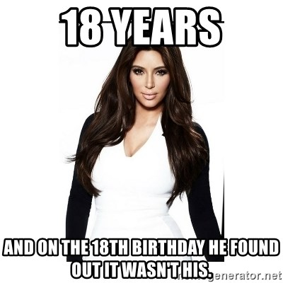 KIM KARDASHIAN - 18 years and on the 18th birthday he found out it wasn't his.