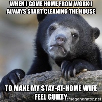 Confessions Bear - when i come home from work i always start cleaning the house to make my stay-at-home wife feel guilty