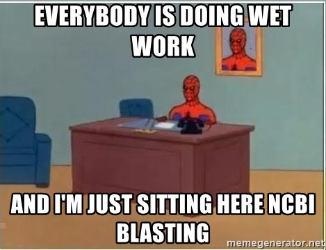 Spiderman Desk - Everybody is doing wet work And i'm just sitting here ncbi blasting