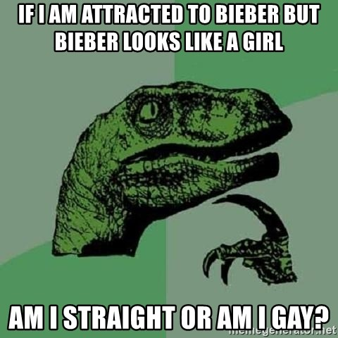 Philosoraptor - If i am attracted to bieber but bieber looks like a girl AM I STRAIGHT OR AM I GAY?