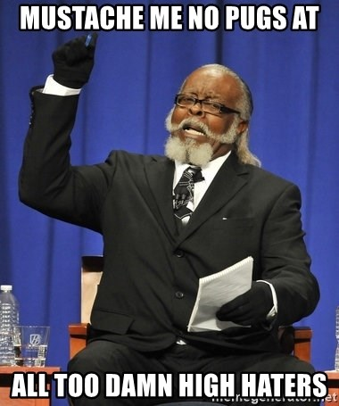 Rent Is Too Damn High - mustache me no pugs at all too damn high haters