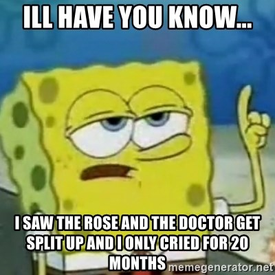 I only cried for 20 minute - Ill have you know... I saw the rose and the doctor get split up and i only cried for 20 months