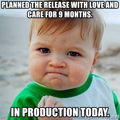 Victory Baby - Planned the release with love and care for 9 months. In production today.