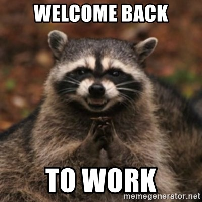 evil raccoon - Welcome back to work