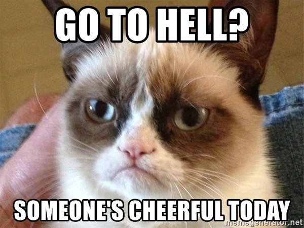 Angry Cat Meme - Go to hell? Someone's cheerful today