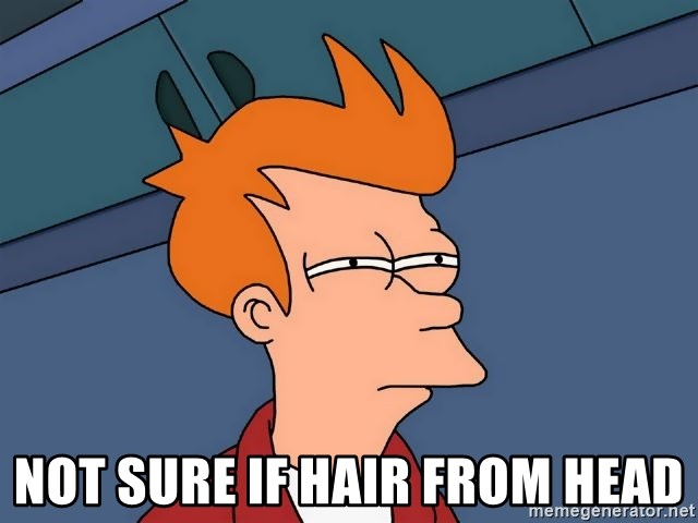 Futurama Fry -  not sure if hair from head