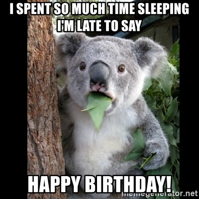 Koala can't believe it - i spent so much time sleeping  i'm late to say happy birthday!