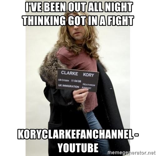 KORY CLARKE WARRIOR SOUL -  I've been out all night thinking got in a fight koryclarkefanchannel - YouTube