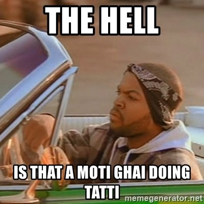 Good Day Ice Cube - THE HELL IS THAT A MOTI GHAI DOING TATTI