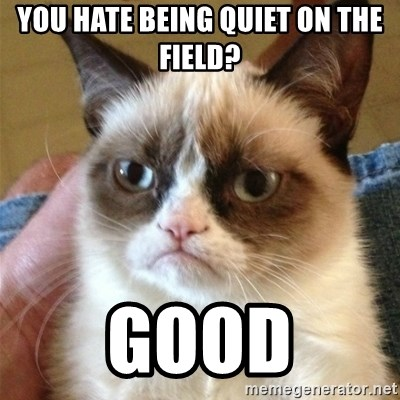 Grumpy Cat  - You hate being quiet on the field? Good