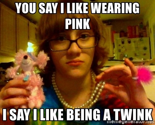 gay shitty idiot - you say i like wearing pink i say i like being a twink