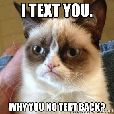 Grumpy Cat  - I text you. Why you no text back?