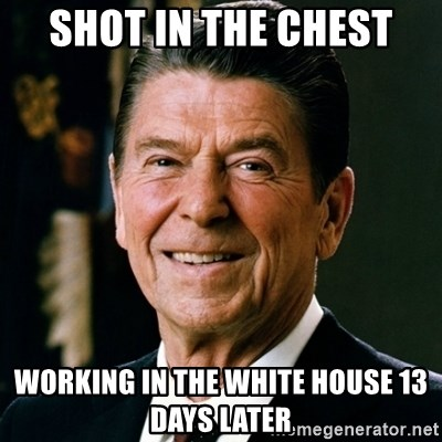 RONALDREAGAN - shot in the chest working in the white house 13 days later
