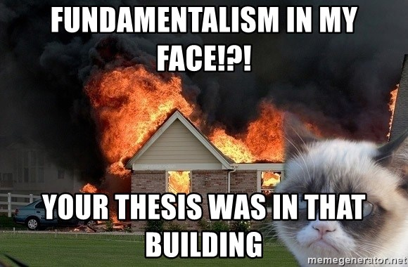 grumpy cat 8 - Fundamentalism in my face!?! Your thesis was in that building