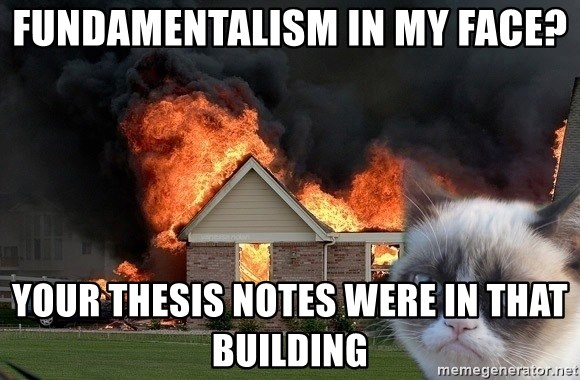 grumpy cat 8 - Fundamentalism in MY face? Your thesis notes were in that building