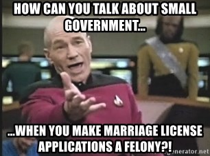 Captain Picard - How can you talk about small government... ...when you make marriage license applications a felony?!