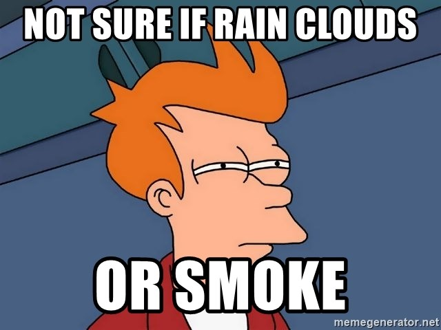 Futurama Fry - Not sure if rain clouds or smoke