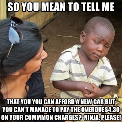 Skeptical 3rd World Kid - So you mean to tell me that you you can afford a new car but you can't manage to pay the overdue$4.30 on your commmon charges?  Ninja, Please!