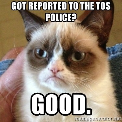 Grumpy Cat  - got reported to the tos police? good.
