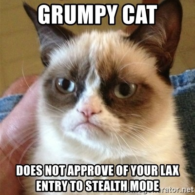 Grumpy Cat  - grumpy cat does not approve of your lax entry to stealth mode
